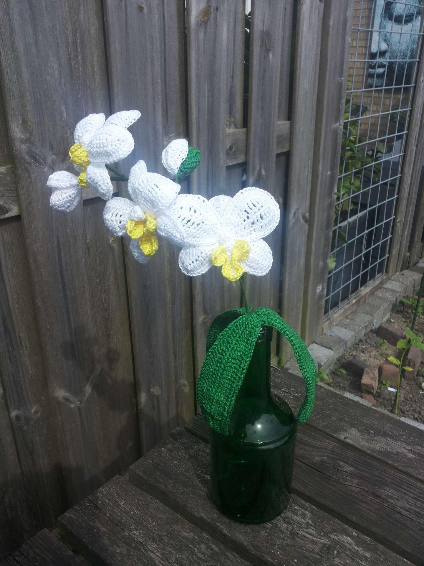 gehaakte orchidee wit