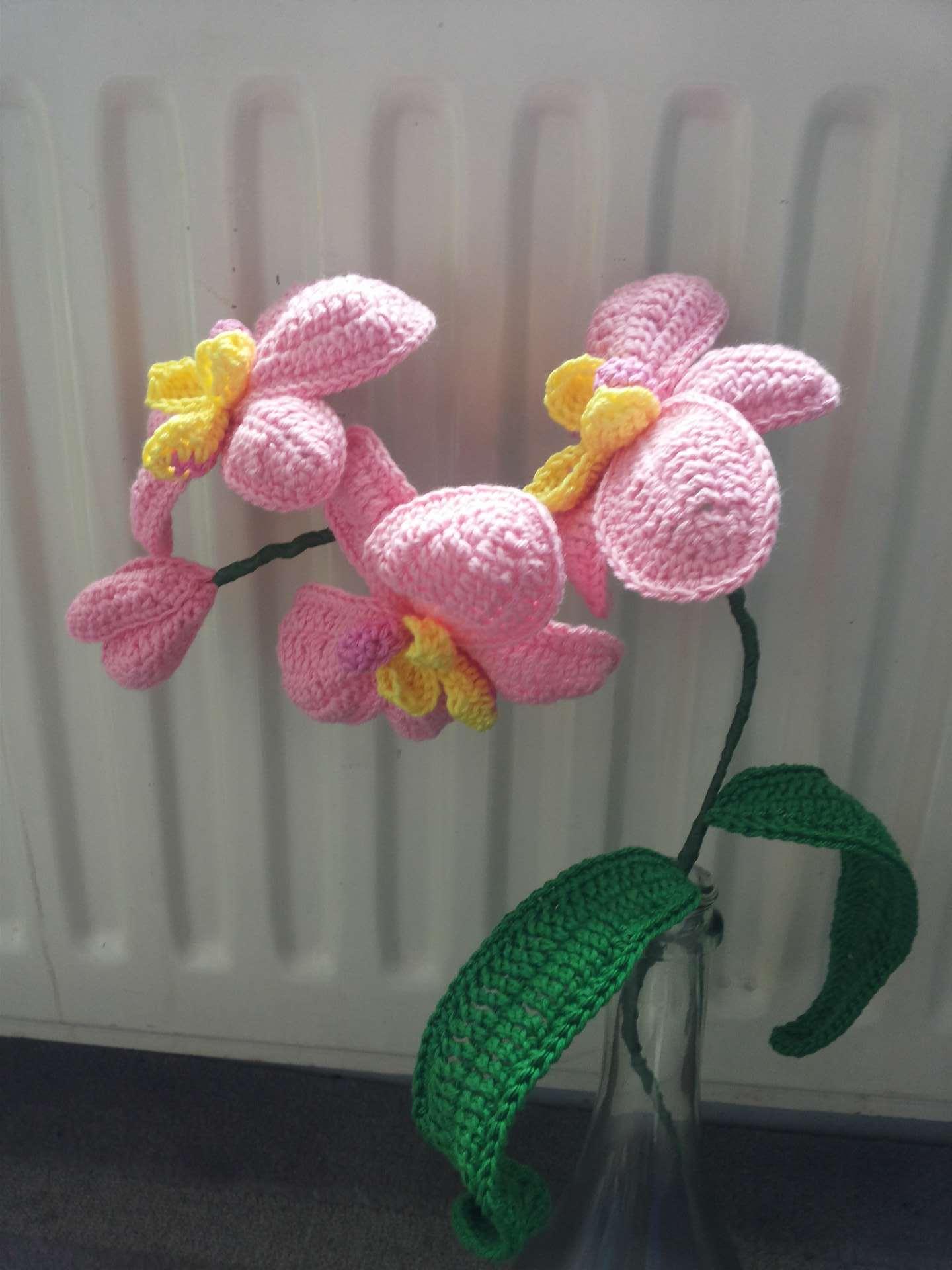 gehaakte orchidee roze