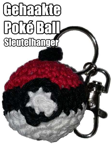 Gehaakte Poke Ball sleutelhanger