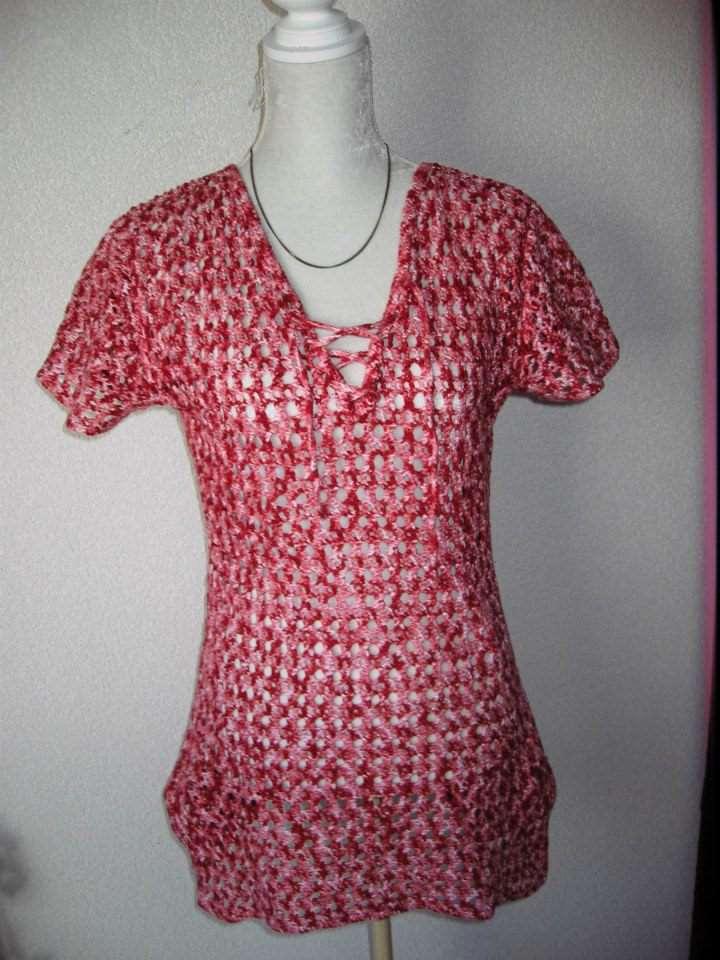 Gehaakt roze t-shirt